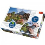 Trefl-90724 Puzzle Matte + Puzzle - Hütten in den Bergen